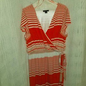 SALE!!   CORAL AND WHITE STRIPED WRAP STYLE DRESS